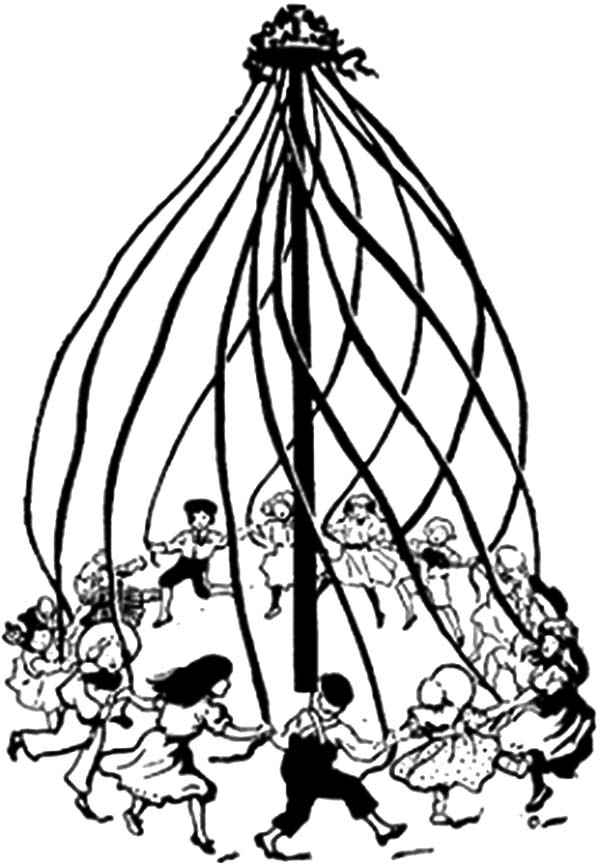 People Maypole Dance On May Day Coloring Pages : Best