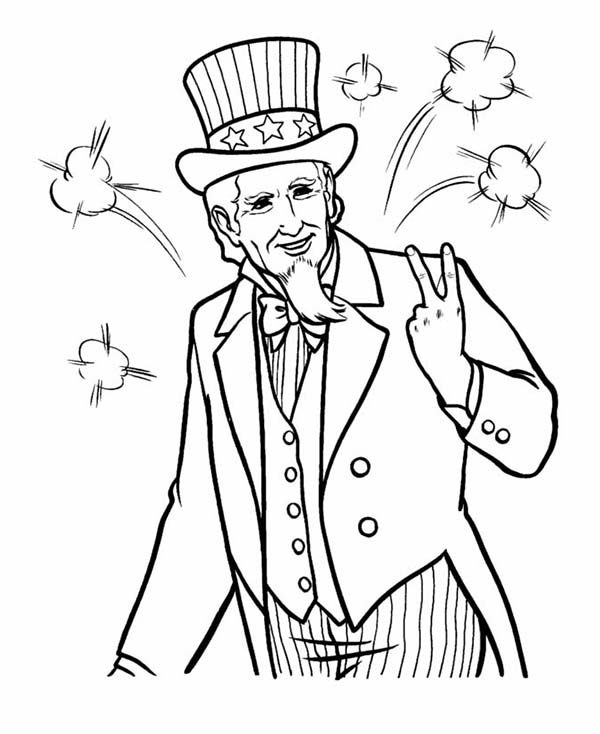 Picture of Uncle Sam on 4th July Independence Day Coloring