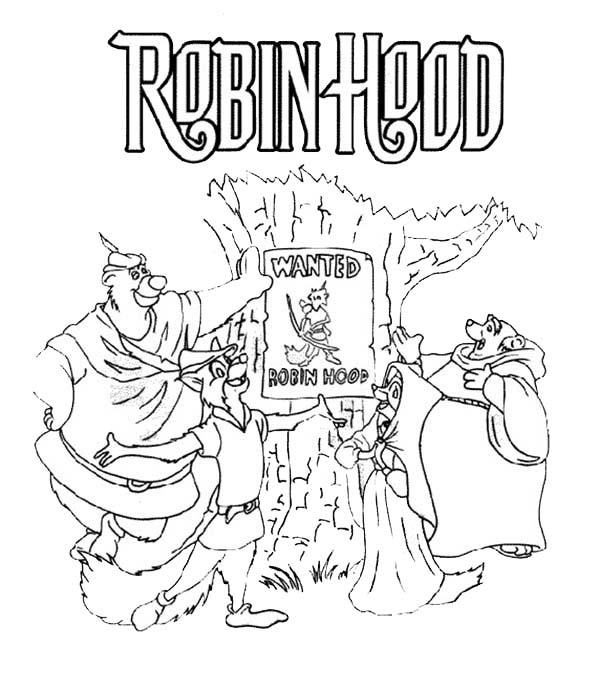 Robin Hood Wanted Poster Coloring Pages: Robin Hood Wanted