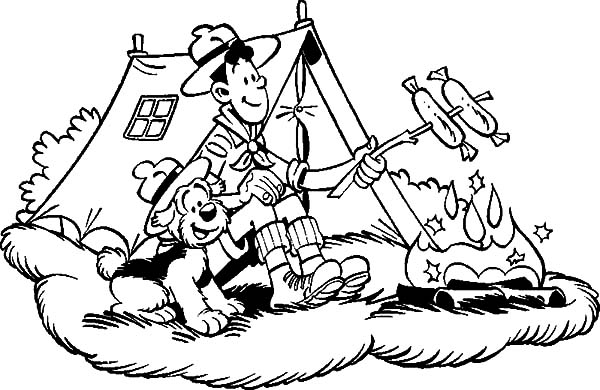 Lake Camping Colouring Pages Sketch Coloring Page