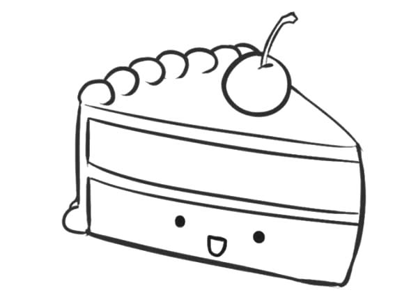 Smiling Cake Slice Coloring Pages: Smiling Cake Slice