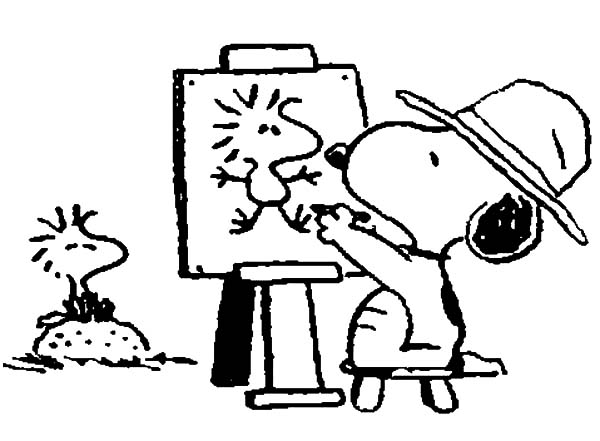 Snoopy Drawing Woodstock On Canvas Coloring Pages : Best