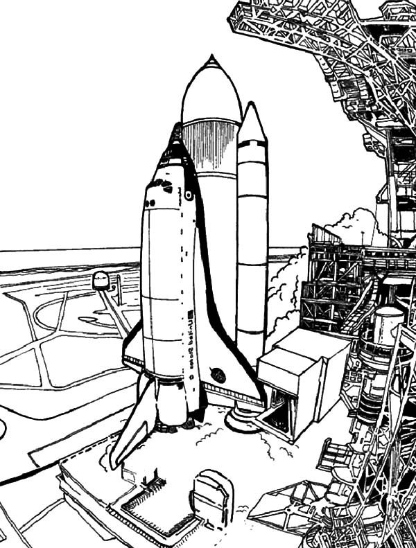Spaceship Prepare Before Launch for Space Travel Coloring