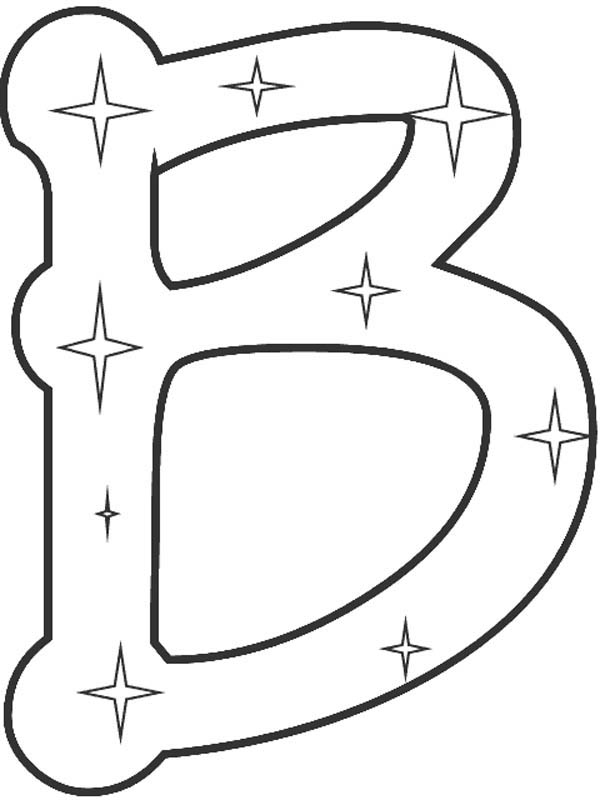 Starry Letter B Coloring Page: Starry Letter B Coloring
