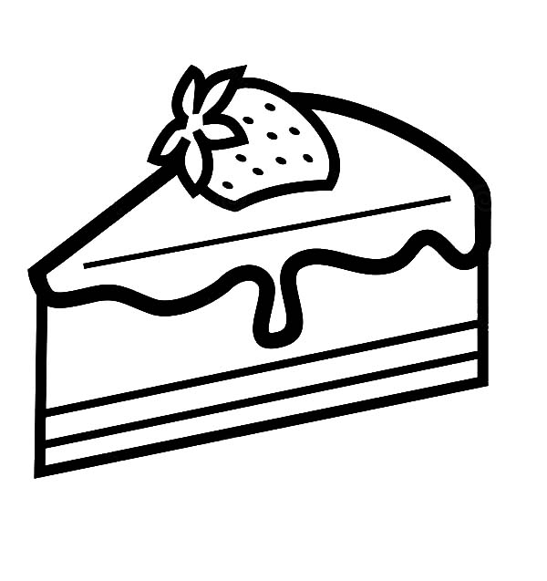 Strawberry Cake Slice Coloring Pages : Best Place to Color