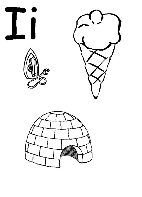 Words Begin with Letter I Coloring Page: Words Begin with