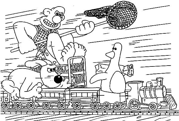 Wallace and Gromit Chasing Duck on a Train Coloring Pages