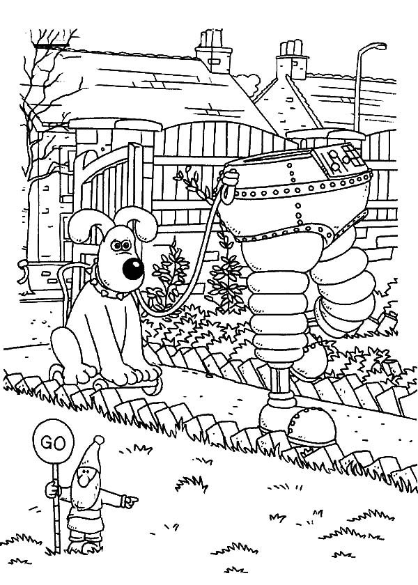 Wallace And Gromit Testing Artificial Feet Coloring Pages