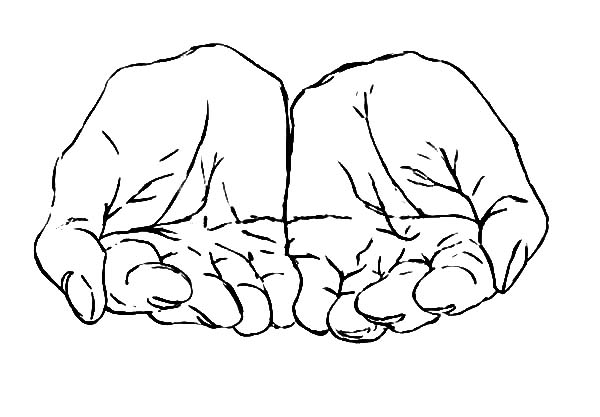 Two Hands Cupped Together Coloring Pages