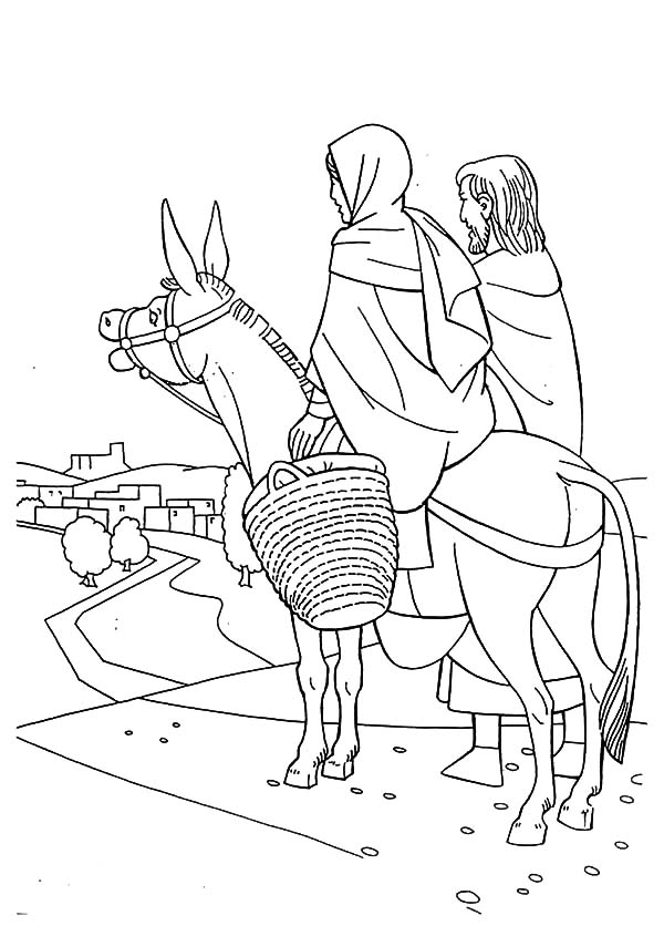 Mary Joseph Donkey Coloring Page Sketch Coloring Page