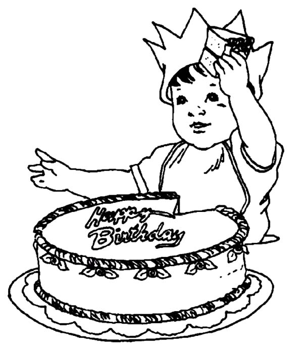 Birthday Boy Cutting His Birthday Cake Coloring Pages
