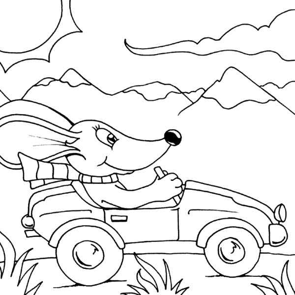 Santa Driving A Car Coloring Coloring Pages