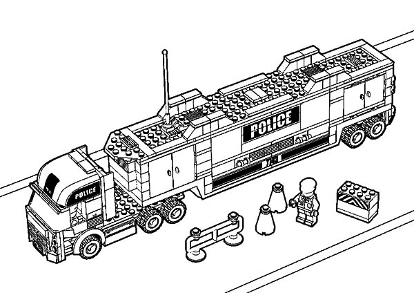 Car Transporter Lego Police Truck Coloring Pages: Car