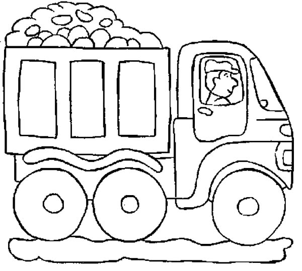 Car Transporter Cement Truck Outline Coloring Pages: Car