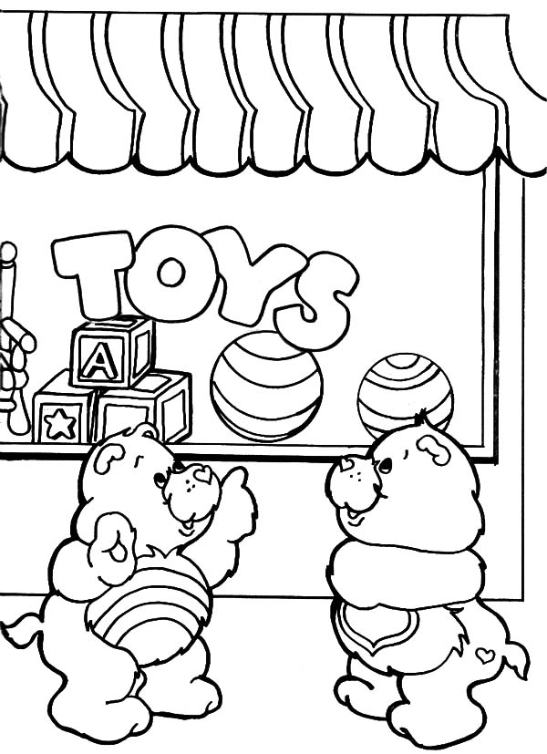 Care Bears Playing with Friends at Rainbow Coloring Pages