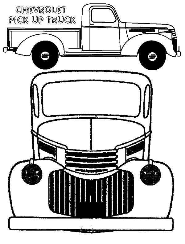 Chevy Cars Pick Up Truck Type Coloring Pages: Chevy Cars