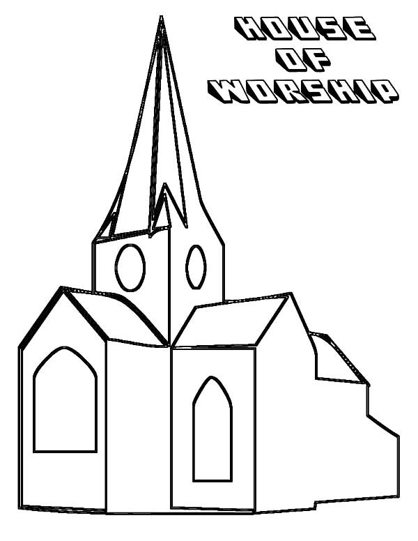 An Old Church Coloring Pages : Best Place to Color