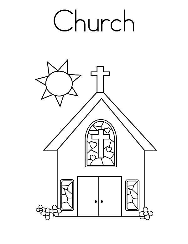Church Tower with Bell Coloring Pages: Church Tower with