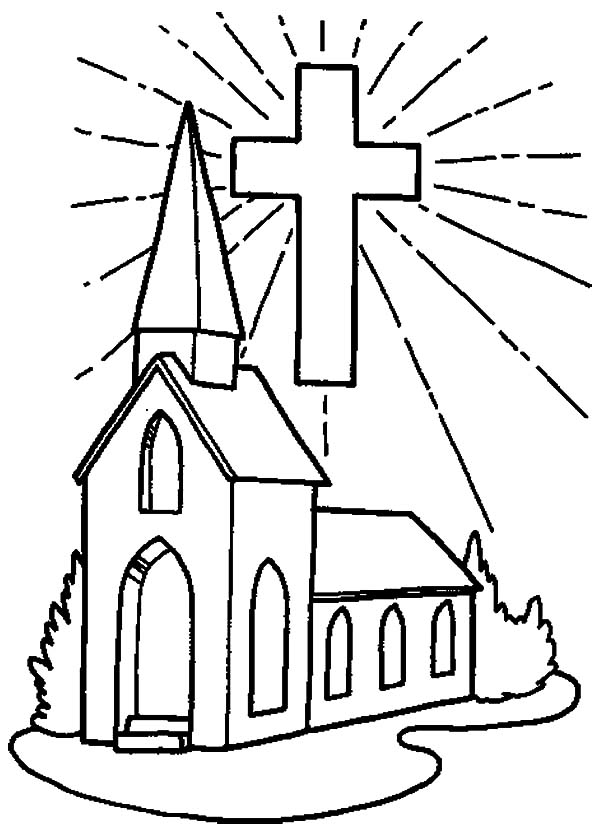 Church And Shining Cross Coloring Pages : Best Place to Color