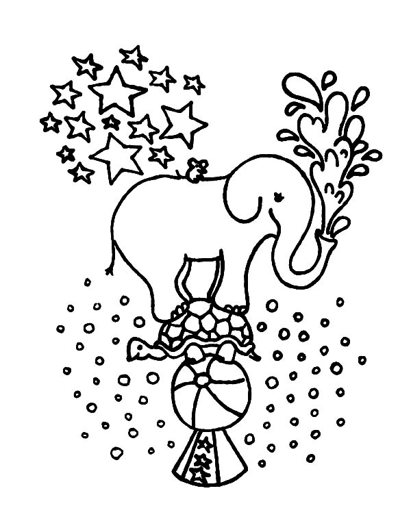 Kids Saying Goodbye to Circus Elephant Coloring Pages