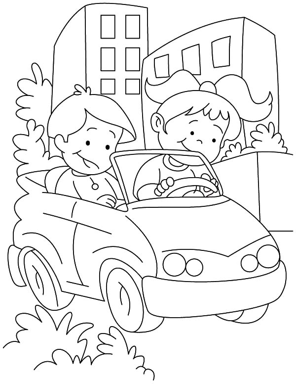 Couple Kids Learn Driving Car Coloring Pages : Best Place