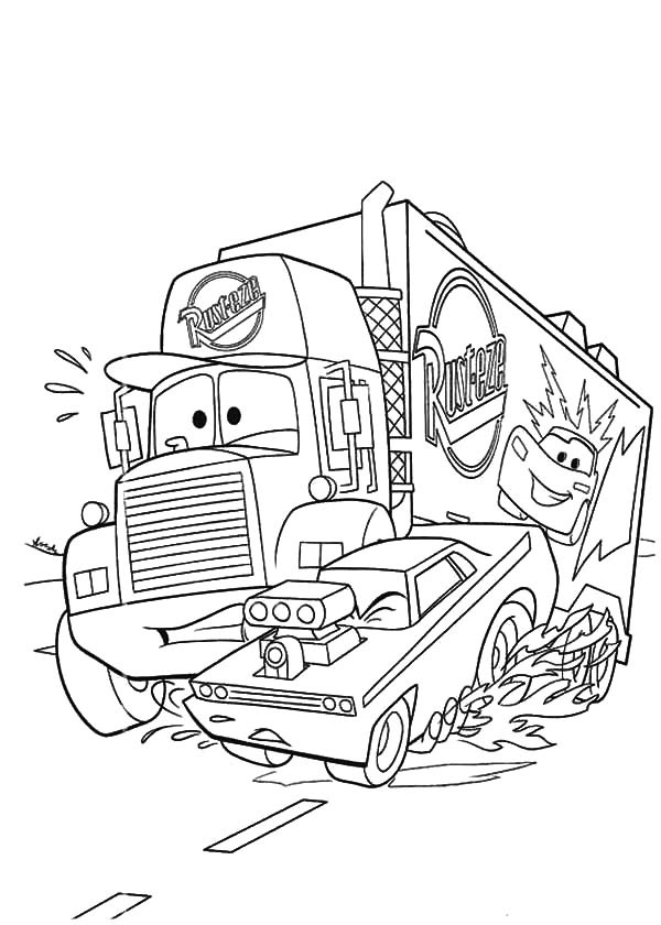 Disney Cars Mack the Truck Car Transporter Coloring Pages