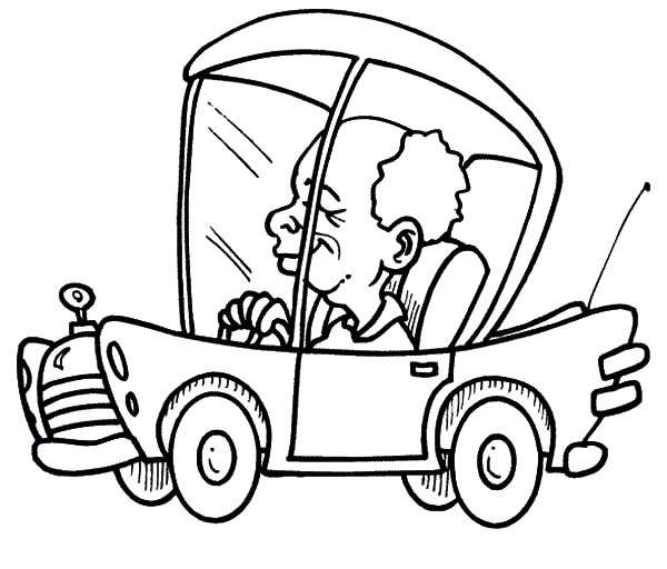 Free coloring pages of boy driving car