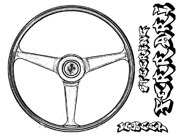Ferrari Car Steering Wheel Parts Coloring Pages : Best