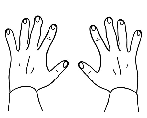 Finger Numbers Hands Coloring Pages : Best Place to Color