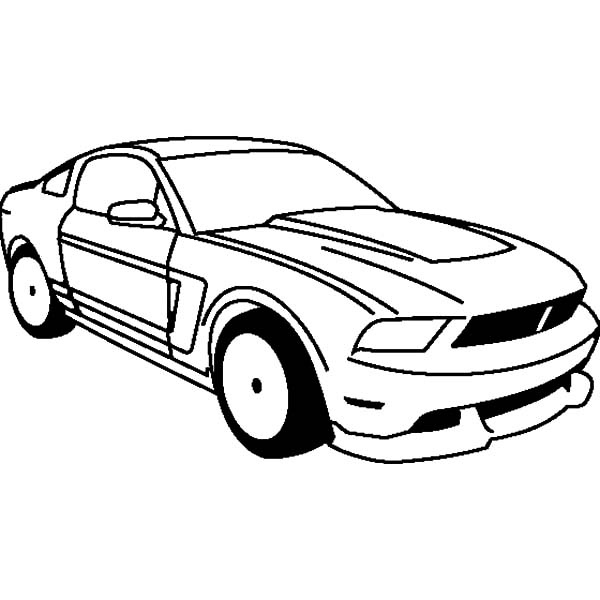 Mustang Racing Car Coloring Pages: Mustang Racing Car