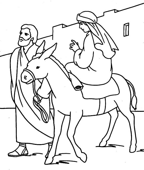Mary and the Donkey and Joseph Journey to Bethlehem
