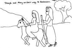 Joseph Pulling Mary On The Donkey Flight Into Egypt