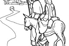 Joseph Walking Beside Mary And The Donkey Coloring Pages