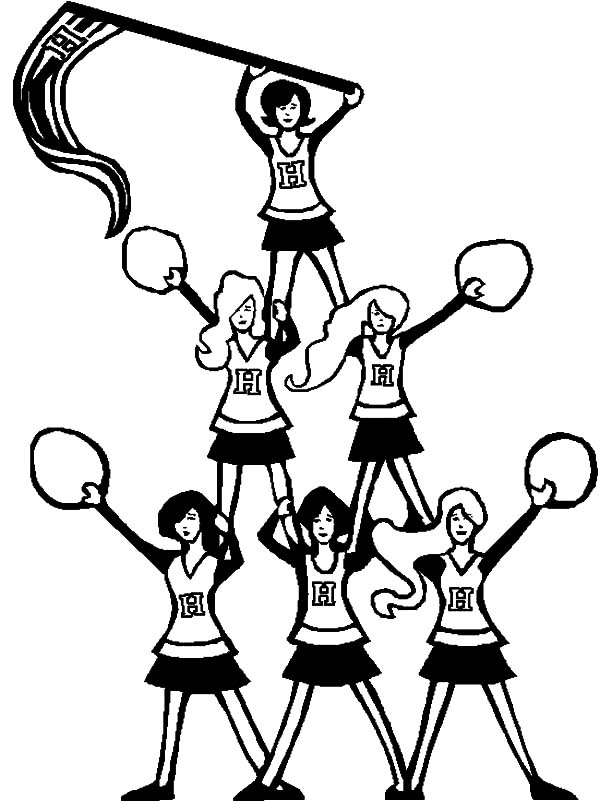 Pyramid Of Cheerleader Coloring Pages : Best Place to Color
