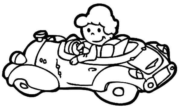 The Girl Driving Car Coloring Pages : Best Place to Color