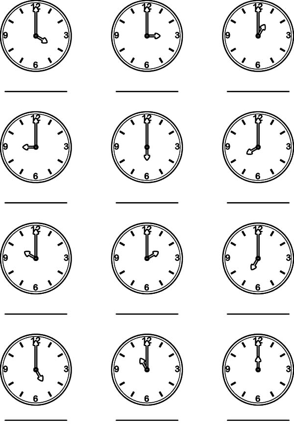 Clock with Hand Pointer Coloring Pages: Clock with Hand