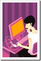 Mujer hablando por internet.