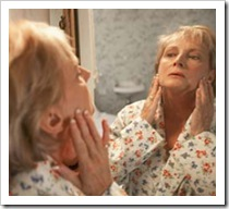 Mujer, rostro, ojeras, manchita, acné...