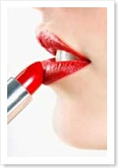 Maquillaje, pintalabios, y bilé