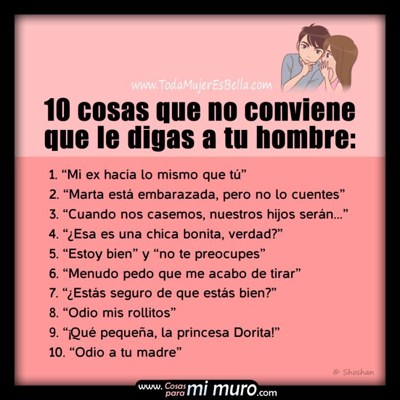 10 cosas que no conviene que le digas a tu hombre