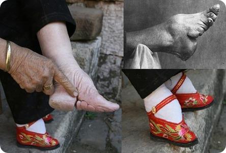 Atado de pies de mujeres chinas para verse más bellas.