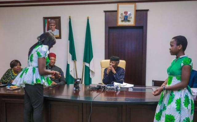 4 After winning the world's largest technology competition in California, the United States, Nigeria's Vice-president Yemi Osinbajo on Thursday received the team in Abuja on Thursday.