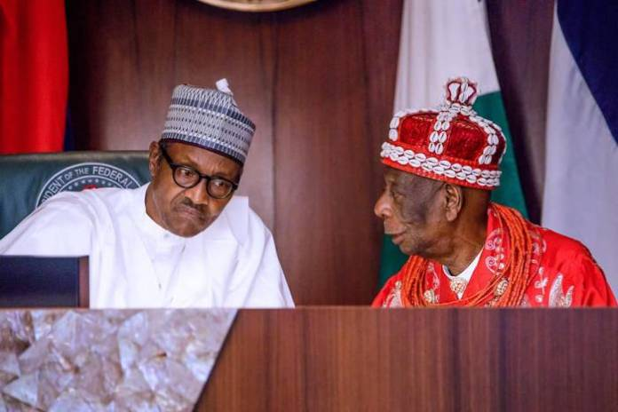 3 President Buhari receives in audience delegation of Ogoni Leaders led by HRM King G.N.K. Gininwa (JP) OFR, Gbenemene Tai Kingdom, President Supreme Council of Ogoni Traditional Rulers in Statehouse on 14th Sep 2018