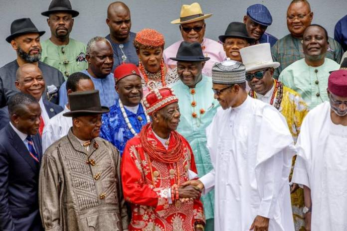 4 President Buhari receives in audience delegation of Ogoni Leaders led by HRM King G.N.K. Gininwa (JP) OFR, Gbenemene Tai Kingdom, President Supreme Council of Ogoni Traditional Rulers in Statehouse on 14th Sep 2018