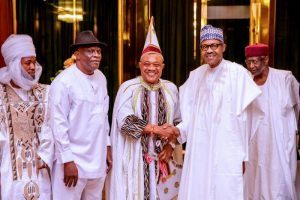 President Buhari receives in courtesy visit Offor of Umuofor Kingdom Eze Abdulfattah Chimaeze Emetumah III in State House on 11th Oct 2018 3