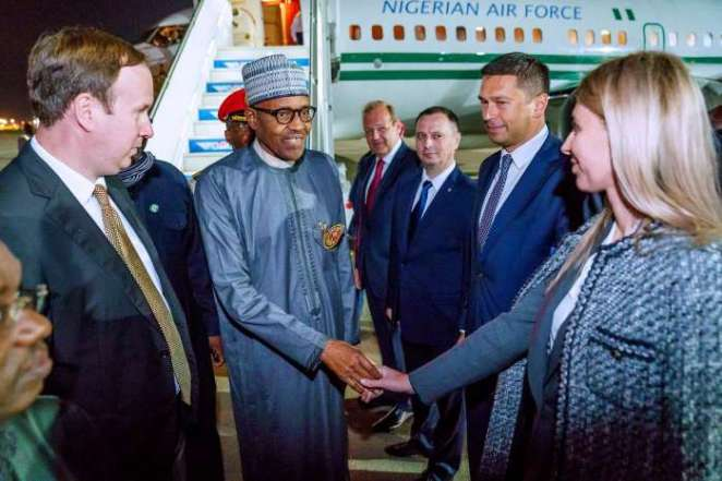 President Muhammadu Buhari on Monday evening arrived Sochi, Russia, ahead of Russia – Africa Economic Forum fixed for between Oct. 23 and Oct. 25 2