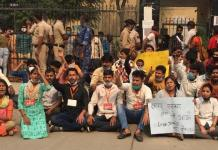 ABVP sitting on dharna demanding justice for Nikita Tomar