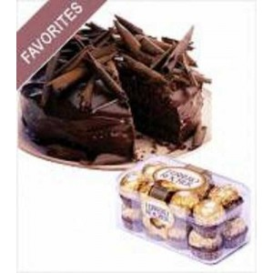 1/2 Kg Chocolate Truffle Cake With 16 Pcs Ferrero Rocher Chocolates
