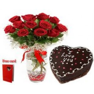 2 Red Roses Beautifully Arranged In Glass Vase With Heart Shape