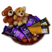 Twin Teddy Chocolate Basket